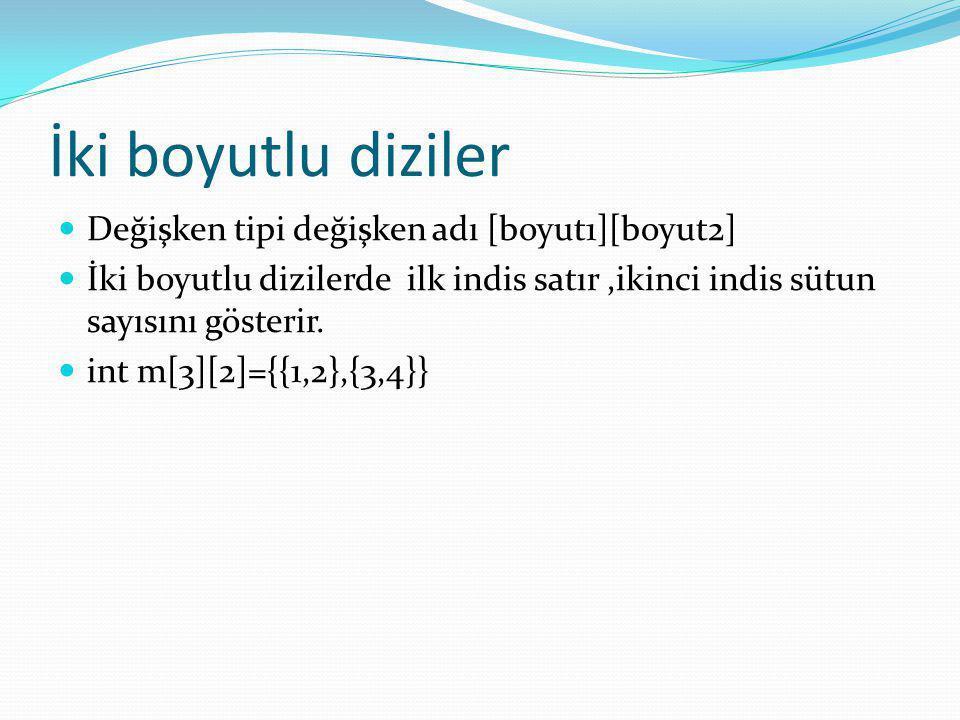 İki boyutlu diziler Değişken tipi değişken adı [boyut1][boyut2]